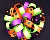 Halloween Loopy Puff Bow Clip - Halloween Hair Bow