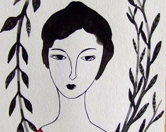 Portrait Woman Portrait Painting Portrait Drawing Portrait Ink Portrait Decor Black Red Portrait Wall Art Face Fine Art Portrait Woman Face