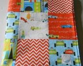 Minky Baby Boy Patchwork Quilt Blanket Michael Miller Les Monsieurs Blue Orange Green 2 Sizes--Made to Order