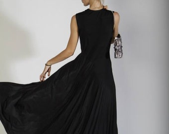 Black Bridesmaid  Dress-Maxi Evening Dress-Black Cocktail Dress- Long Dress-prom dress
