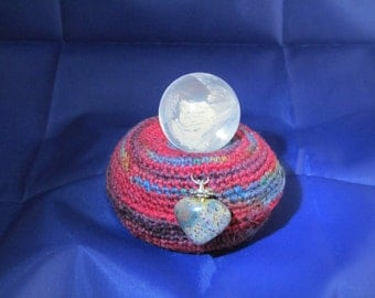 26mm Natural Clear Quartz Crystal Ball on Hand Crocheted Pillow