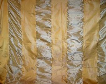 KOPLAVITCH HOLLYWOOD SILK Satin Ruche Stripes Fabric 10 yards Gold Silver