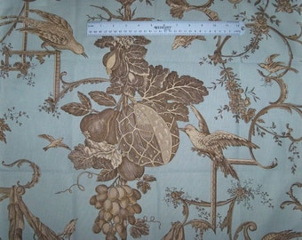 BRUNSCHWIG & FILS KININVIE Birds Toile Fabric 10 Yards Robins Egg Blue Amber