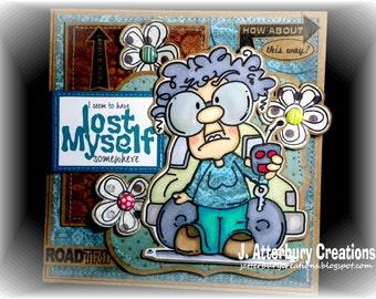 OOAK---I Lost Myself Somewhere Humorous Card + Matching Envelope Box