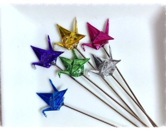 Metallic Jewel Toned Origami Paper Crane Pin Toppers, Set of Six - PT40