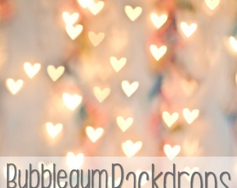 Bokeh Hearts - Vinyl Photography Backdrop Floordrop Prop