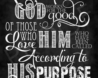 Scripture Art - Romans 8:28 Chalkboard Style