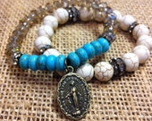 Blue and White Turquoise stackable bracelets with Virgin Mary Charm medal