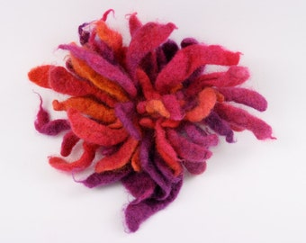 felt, felted brooche, felted flower-  fire flames - by inmano