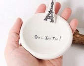 Ooh La La Eiffel Tower Ring Dish Porcelain Pottery Ceramic  Romantic Lovely and Delicate MADE TO ORDER