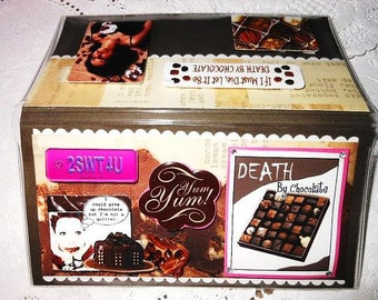 Death by Chocolate Chocoholic  Scrapbooked Checkbook Cover - Vinyl Protective Holder