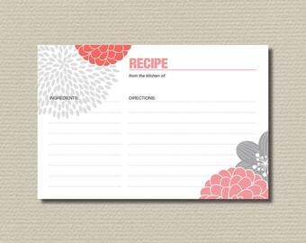 Bridal Shower Recipe Cards - Modern flower design// Watermelon // Pink // Grey (PP49)