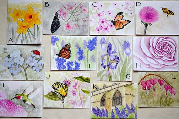 Holiday gift assortment watercolor reprint cards for the gardener nature lover
