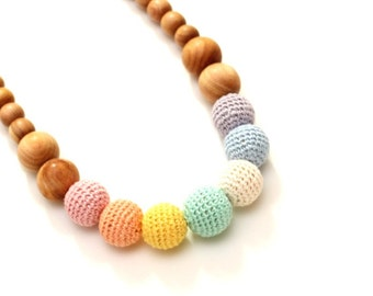 Pastel Rainbow Nursing Necklace - Breastfeeding, Babywearing, Teething Toy, Eco-friendly - Waldorf toy