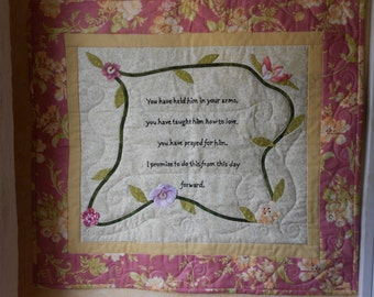 Wallhanging/Embroidered Words And Appliqued Flowers With Vines Wallhanging