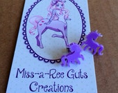 Itty Bitty Unicorn earrings laser cut purple lavender