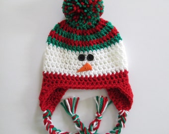 Snowman Hat, Earflap Hat, Christmas Hat, Christmas Baby, Pom Pom Hat, Winter Hat, Baby Hats, Toddler Hat, Kids Hats, Womens Hats, Mens Hats
