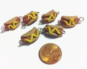 Hot Dog Charms (6 pieces), food charms, polymer clay charms, food jewelry, jewelry making, kawaii charms, gag gifts, handmade charms, beads
