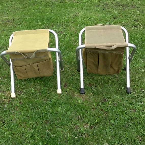 Vintage Kit Stool Canvas Camp Stool Army Stool Aluminum Frame