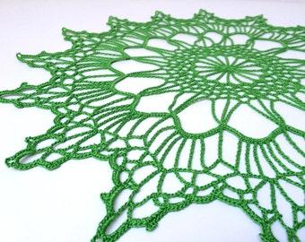 Light green crochet doily. Round crochet doily. Colorful doily. Doily gift. Crochet gift. Elegant crochet doily.
