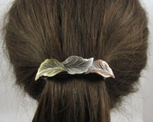 Leaf French Barrette 80mm or 70mm Sterling Silver Copper Brass Ox Satin Finish