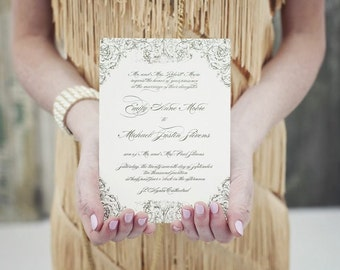 Wedding Invitation, Blush and Gold Invitation, Elegant Wedding Invitation, Gold Wedding Invites, Wedding Invitations, Vintage, Monogram