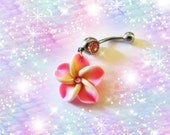 Belly Ring, Mini Pink Tropical Hawaiian Plumeria Flower, With Pink Crystal, Belly button Ring, Belly Button Jewelry, For Women or Teens