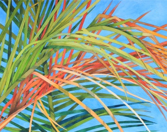 One of a Kind......Art Original Watercolor Painting Tropical Hawaiian PALM FRONDS