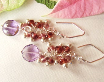 Amethyst coin earrings with garnet & pink mystic quartz, sterling silver earrings