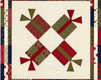 PATTERN:  Gift Exchange by Sandy Gervais, Pieces from my Heart, Square-Throw Lap Quilt. Jelly Roll Friendly