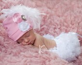 Newborn Baby Hospital Hat Over the Top Newborn Girls Hat Pink with Feathers