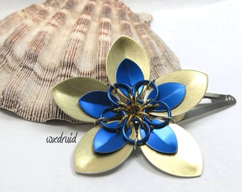Scale Flower Hair Clip, Handmade Gold and Blue Flower Hairpiece, Hair Flower Clip