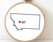 MONTANA Map Cross Stitch Pattern. Montana art pattern with Helena. Montana state ornament pattern. MT decor. Wedding gift.