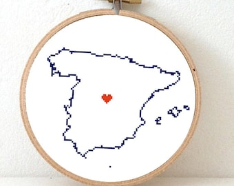 Spain Map Cross Stitch Pattern. Easy Embroidery pattern to make a Spain poster. Map art for travel theme wedding
