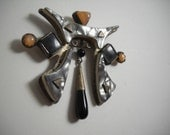 Nancy Worden Art Deco Classical Chinese Revival Sterling Silver Modernist Pin Brooch