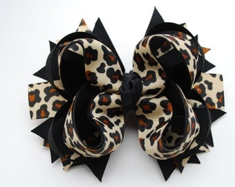 Stacked Cheetah Boutique Bow - 5 inches - Girl Child Toddler
