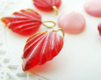 Ruby Red Glass Leaf  Bead Charms 1 Ring Brass Loop Drops 17x13mm - 8