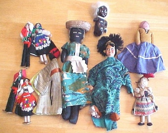 10 Vintage Fabric Dolls of the World - Shabby to repair or repurpose  - Cloth Costumed Dolls Collection - Doll Parts