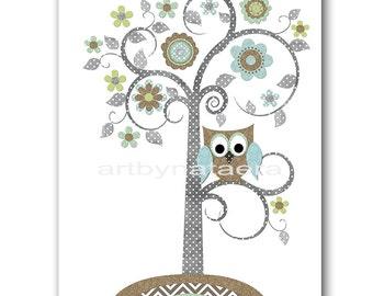 Tree Nursery Childrens Art Kids Wall Art Baby Boy Room Decor Baby Boy Nursery Kids Art Baby Nursery Print Owl Nursery Blue Gray Brown