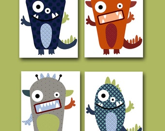 monster nursery kids art kids wall art baby boy nursery art print children wall art baby - Kid Prints