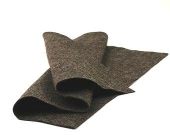 "100 Percent Wool Felt Sheet  in Color HEATHER CHOCOLATE - 18"" X 18"" Wool Felt Sheet - Merino Wool Felt"