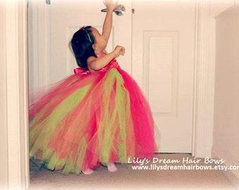 5% OFF Fuchsia Pink tutu dress Apple green tutu dress Dark Pink tutu dress birthday tutu dress fairy tutu dress flower girl tutu dress
