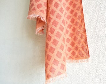 SALE  Natural Madder and Lac dyed Katazome stencil fishnet  Wool-Linen scarf