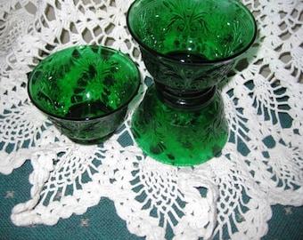 Tiara Christmas Green Custard Cups Mint, Green Sandwich glass, Ornate Green glass cups Mint