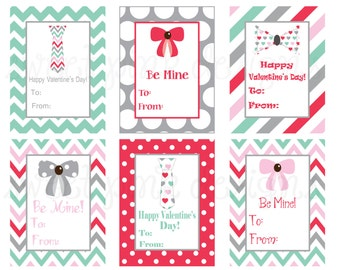 Bows and Ties- Printable Kids Valentine's Cards