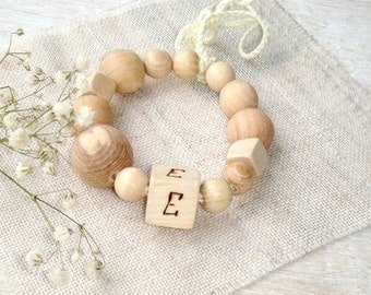 Wood Baby teether Initials Wood burned Wooden ring White teething toy