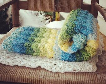 Double thick Beautiful Blues, Greens and Yellows Shell Crochet Baby Blanket,  full crib size.