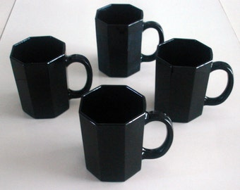 4 Vintage 1970's Retro Made in France Black Glass Octagon Mugs