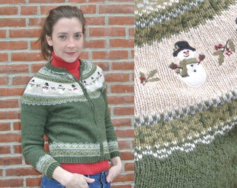Hunter Green Fair Isle Zip Up Christmas Sweater Cardigan with Snowmen & Holly Size XS/S