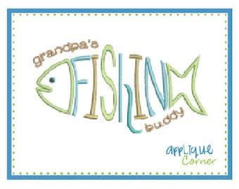 INSTANT DOWNLOAD Grandpa's Fishing Buddy applique digital design for embroidery machine by Applique Corner